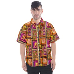 Traditional Africa Border Wallpaper Pattern Colored 3 Men s Short Sleeve Shirt