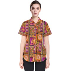 Traditional Africa Border Wallpaper Pattern Colored 3 Women s Short Sleeve Shirt