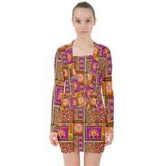 Traditional Africa Border Wallpaper Pattern Colored 3 V Neck Bodycon Long Sleeve Dress