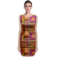 Traditional Africa Border Wallpaper Pattern Colored 3 Sleeveless Velvet Midi Dress