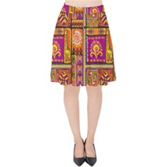 Traditional Africa Border Wallpaper Pattern Colored 3 Velvet High Waist Skirt