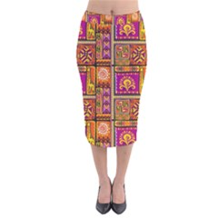 Traditional Africa Border Wallpaper Pattern Colored 3 Velvet Midi Pencil Skirt
