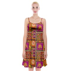 Traditional Africa Border Wallpaper Pattern Colored 3 Spaghetti Strap Velvet Dress