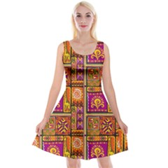 Traditional Africa Border Wallpaper Pattern Colored 3 Reversible Velvet Sleeveless Dress