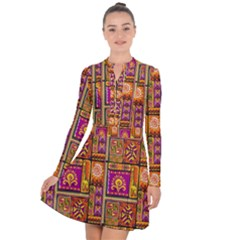 Traditional Africa Border Wallpaper Pattern Colored 3 Long Sleeve Panel Dress
