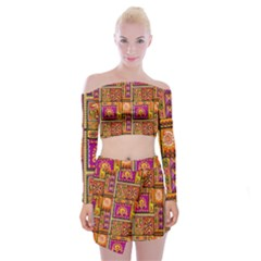 Traditional Africa Border Wallpaper Pattern Colored 3 Off Shoulder Top With Mini Skirt Set