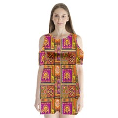 Traditional Africa Border Wallpaper Pattern Colored 3 Shoulder Cutout Velvet One Piece