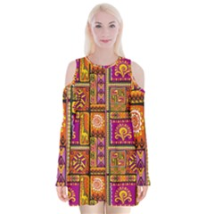 Traditional Africa Border Wallpaper Pattern Colored 3 Velvet Long Sleeve Shoulder Cutout Dress