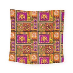 Traditional Africa Border Wallpaper Pattern Colored 3 Square Tapestry (small)