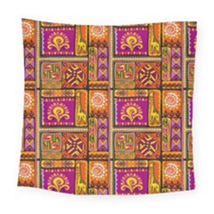 Traditional Africa Border Wallpaper Pattern Colored 3 Square Tapestry (large)