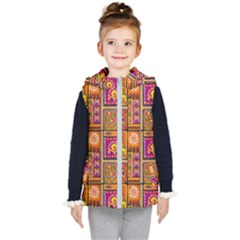 Traditional Africa Border Wallpaper Pattern Colored 3 Kid s Hooded Puffer Vest