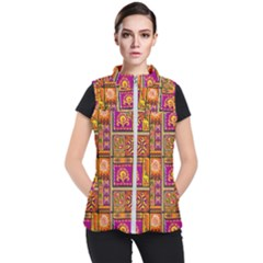 Traditional Africa Border Wallpaper Pattern Colored 3 Women s Puffer Vest
