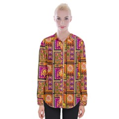 Traditional Africa Border Wallpaper Pattern Colored 3 Womens Long Sleeve Shirt