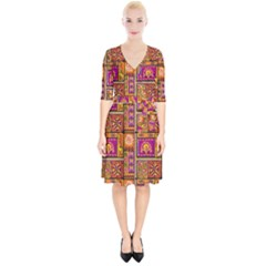 Traditional Africa Border Wallpaper Pattern Colored 3 Wrap Up Cocktail Dress