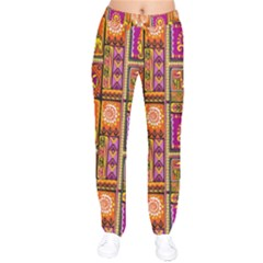 Traditional Africa Border Wallpaper Pattern Colored 3 Velvet Drawstring Pants