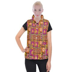 Traditional Africa Border Wallpaper Pattern Colored 3 Women s Button Up Vest