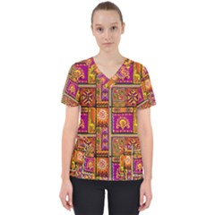 Traditional Africa Border Wallpaper Pattern Colored 3 Scrub Top