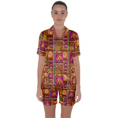 Traditional Africa Border Wallpaper Pattern Colored 3 Satin Short Sleeve Pyjamas Set