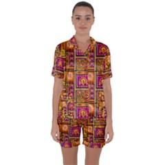 Traditional Africa Border Wallpaper Pattern Colored 3 Satin Short Sleeve Pyjamas Set
