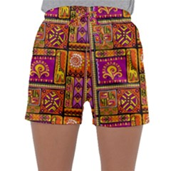 Traditional Africa Border Wallpaper Pattern Colored 3 Sleepwear Shorts