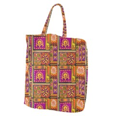 Traditional Africa Border Wallpaper Pattern Colored 3 Giant Grocery Tote