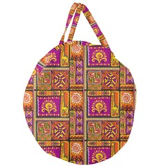 Traditional Africa Border Wallpaper Pattern Colored 3 Giant Round Zipper Tote