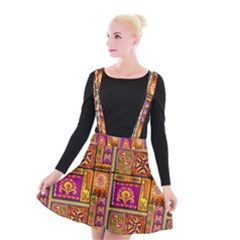 Traditional Africa Border Wallpaper Pattern Colored 3 Suspender Skater Skirt
