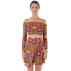 Traditional Africa Border Wallpaper Pattern Colored 3 Off Shoulder Top With Skirt Set