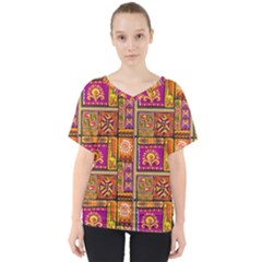 Traditional Africa Border Wallpaper Pattern Colored 3 V Neck Dolman Drape Top