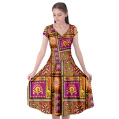 Traditional Africa Border Wallpaper Pattern Colored 3 Cap Sleeve Wrap Front Dress