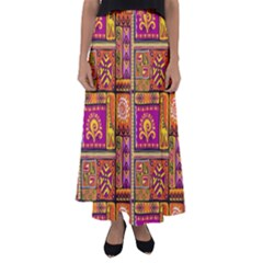 Traditional Africa Border Wallpaper Pattern Colored 3 Flared Maxi Skirt