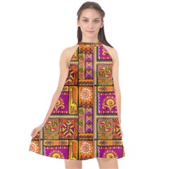 Traditional Africa Border Wallpaper Pattern Colored 3 Halter Neckline Chiffon Dress