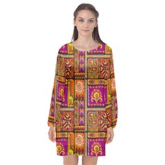 Traditional Africa Border Wallpaper Pattern Colored 3 Long Sleeve Chiffon Shift Dress