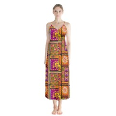Traditional Africa Border Wallpaper Pattern Colored 3 Button Up Chiffon Maxi Dress