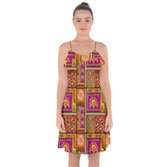Traditional Africa Border Wallpaper Pattern Colored 3 Ruffle Detail Chiffon Dress