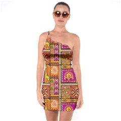 Traditional Africa Border Wallpaper Pattern Colored 3 One Soulder Bodycon Dress