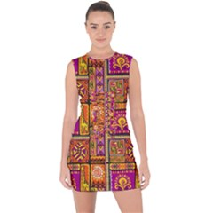 Traditional Africa Border Wallpaper Pattern Colored 3 Lace Up Front Bodycon Dress