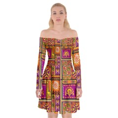 Traditional Africa Border Wallpaper Pattern Colored 3 Off Shoulder Skater Dress