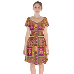 Traditional Africa Border Wallpaper Pattern Colored 3 Short Sleeve Bardot Dress