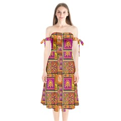 Traditional Africa Border Wallpaper Pattern Colored 3 Shoulder Tie Bardot Midi Dress