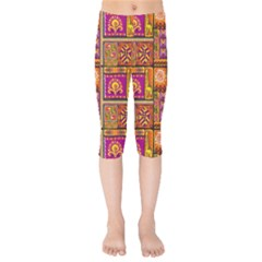 Traditional Africa Border Wallpaper Pattern Colored 3 Kids  Capri Leggings