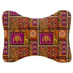 Traditional Africa Border Wallpaper Pattern Colored 3 Velour Seat Head Rest Cushion