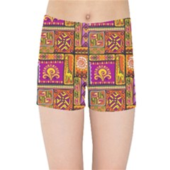 Traditional Africa Border Wallpaper Pattern Colored 3 Kids Sports Shorts