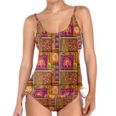 Traditional Africa Border Wallpaper Pattern Colored 3 Tankini Set