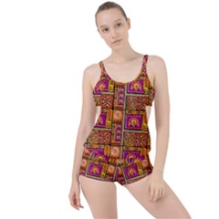 Traditional Africa Border Wallpaper Pattern Colored 3 Boyleg Tankini Set