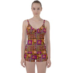 Traditional Africa Border Wallpaper Pattern Colored 3 Tie Front Two Piece Tankini