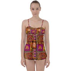 Traditional Africa Border Wallpaper Pattern Colored 3 Babydoll Tankini Set