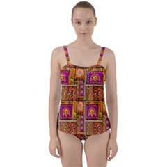 Traditional Africa Border Wallpaper Pattern Colored 3 Twist Front Tankini Set