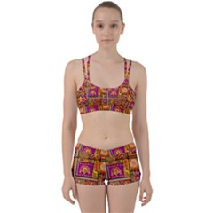 Traditional Africa Border Wallpaper Pattern Colored 3 Women s Sports Set