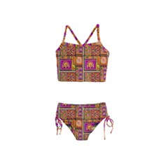 Traditional Africa Border Wallpaper Pattern Colored 3 Girls  Tankini Swimsuit